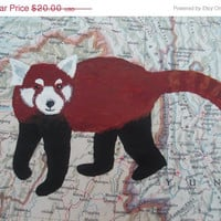 CIJ SALE Red Panda - Hand Painted on Vintage Map of China
