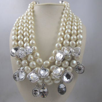 Yves Saint Laurent Necklace, YSL Four Strand Baroque Pearl, Crystal Dangles Couture Runway Vintage