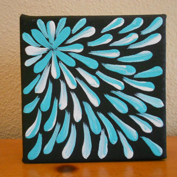 Painting Aqua Flower Aboriginal Inspired 4 x 4 by Acires on Etsy