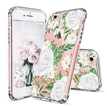 iPhone 6 Case, iPhone 6s Cover, MOSNOVO White Roses Floral Flower Pattern Printed Clear Design Transparent Plastic Hard Back Case with TPU Bumper Gel Protective Cover for Apple iPhone 6 6s (4.7 Inch)