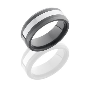 Ceramic and Tungsten 8mm Wide Beveled Wedding Band
