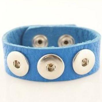 Leather Snap Charm Bracelet Sapphire Blue Textured Grain Soft Medium Size 24cm