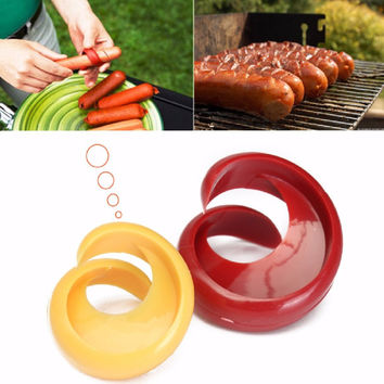2PCs Manual Fancy Sausage Cutter Spiral Barbecue Hot Dogs