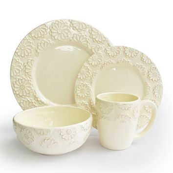 American Atelier Bianca Flower 16-pc. Dinnerware Set (White)