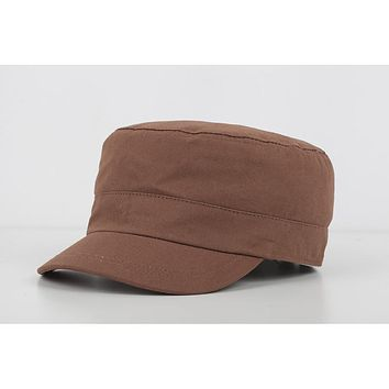 Hot Selling New 2016 Fashion Summer Adjustable Classic Army Plain Vintage Hat Cadet High quality