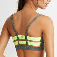 Medium Impact - Caged-Back Heathered Sports Bra