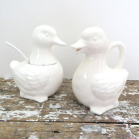 White Creamer and Sugar Bowl Cream and Sugar Duck