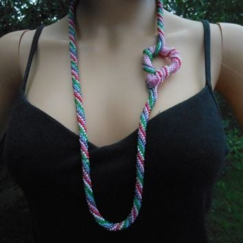 Crochet Beaded Necklace, Crochet Rope, Gift for Women, Rope Necklace