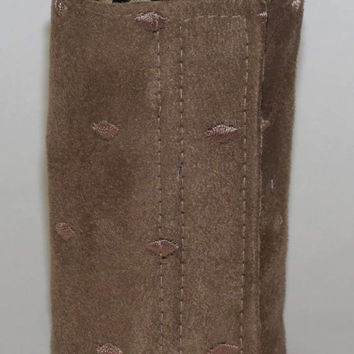 Wrist Wallet, Zippered Wrap Cuff, Hands-free, Secure, Tan Ultra Suede