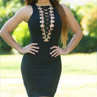 Black Strap Designed Sleeveless Body-con Dress
