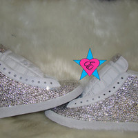 White Nike Blazer Mid Top Fully Covered Clear Rhinestones