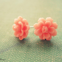 pink flower earrings, dainty pink flower studs, breast cancer awareness, pretty little pink earrings, bridesmaid gift