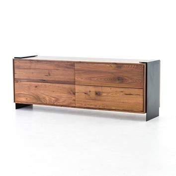 PRESTON 4 DRAWER DRESSER, Beech Walnut, Black Steel, Walnut Natural