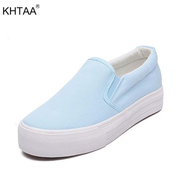 KHTAA Women Flats Canvas Platform Elastic Band Slip On Loafers Increasing Heel Female Shoes For Ladies Footwear Vulcanized shoes