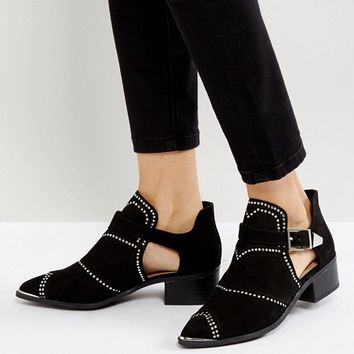 Missguided Cut Out Studded Ankle Boots at asos.com