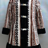 1960's Tapestry Coat w/ Black Faux Fur Trim - Jackie Kennedy Style - Clasp Front - Cute Mid Century Jacket - Retro Chic!