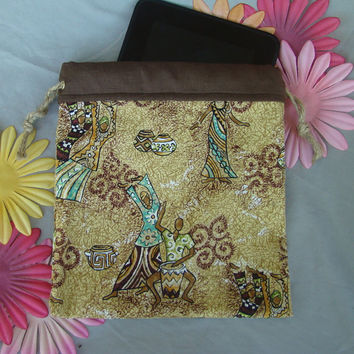 SALE - African Drums - Tablet tote / pouch / bag / sleeve - African dancers & drummers, with maybe a few witch-doctors or voodoo priestesses