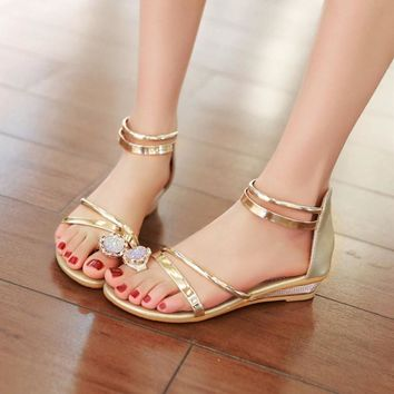 2017 Summer Sandals Women Bohemia Rhinestone Wedge Shoes Roman Style Gold Gladiator Sa