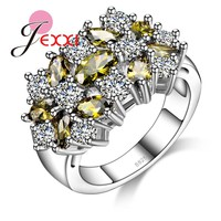 JEXXI Retro 925 Sterling Silver Ring For Wome Party Jewelry Mixed Austrian Crystal Wedding Engagement Bands Finger Ring Female