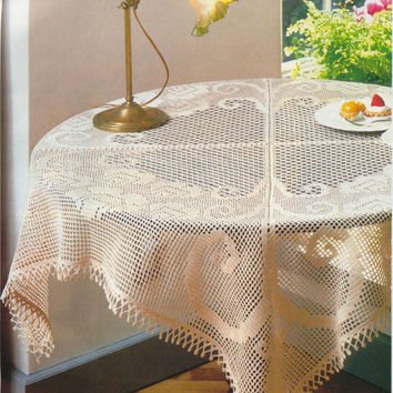 Square Crochet Tablecloth, Cream Color, Table Decoration, Victorian, Wedding Gift