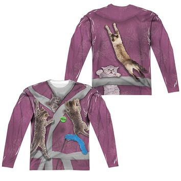 Crazy Cat Lady Halloween Costume Long Sleeve T-shirt Front & Back