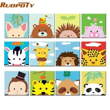 RUOPOTY Frame Cute Animals DIY Painting By Numbers Modern Wall Art Picture Kids Paint By Numbers Unique Gift For Home Decor Arts