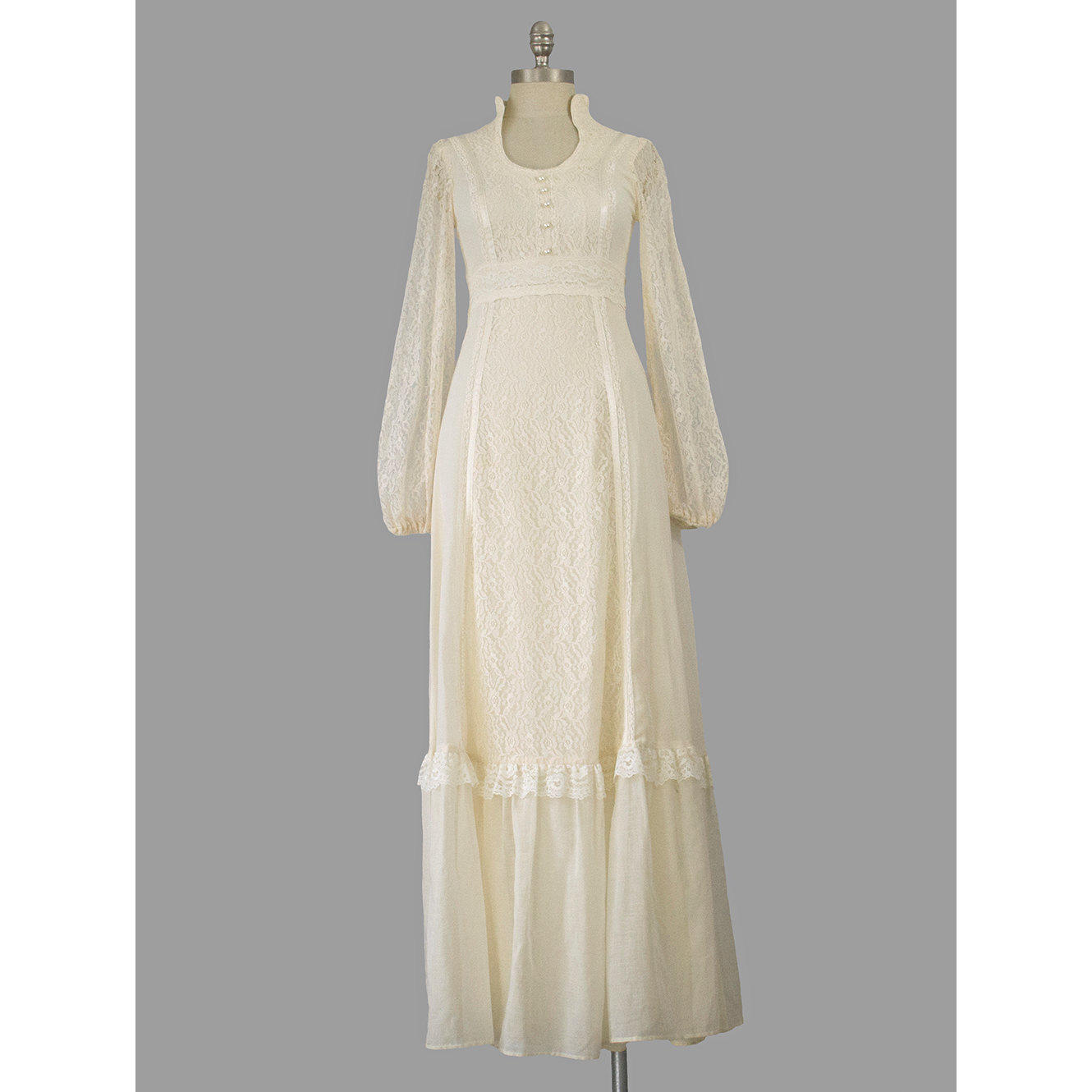 Gunne Sax Style 70s Maxi Dress Cream from Recycling History