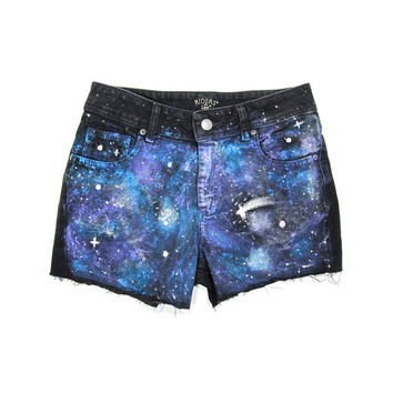 29w / CUSTOM STUDDED Shorts / Hipster High Waist Cut-Offs Galaxy Space Shorts / 0023SH