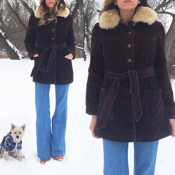 Vintage 1960's 1970's Italian PENNY LANE Brown Chocolate Corduroy And Shearling Trimmed Coat || Size Xs to S