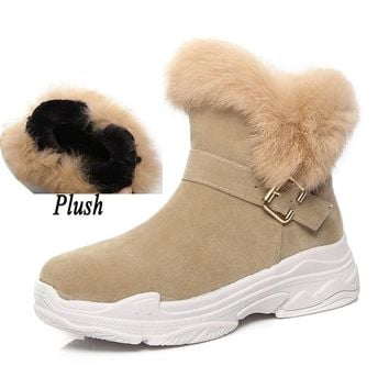 2018 Women Suede Rabbit Fur Winter Snow Boots Female Wedges Fashion Plush Warm Platform Felt Ankle Boots Fetish Booties UG Shoes