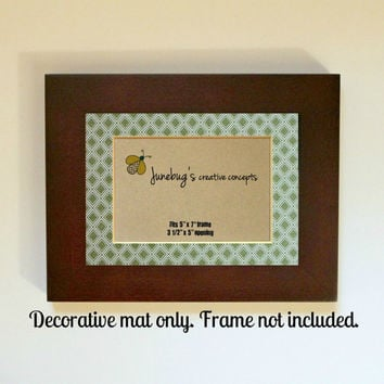 3x5 Photo Mat fits 5x7 Frame Green Diamonds