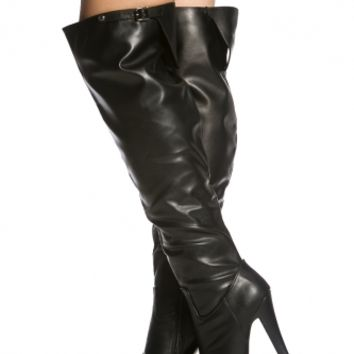 Black Faux Leather Buckle Accent Knee High Platform Boot @ Cicihot Boots Catalog:women's winter boots,leather thigh high boots,black platform knee high boots,over the knee boots,Go Go boots,cowgirl boots,gladiator boots,womens dress boots,skirt boots.