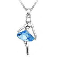 A 090713 Ballet girl angel crystal necklace