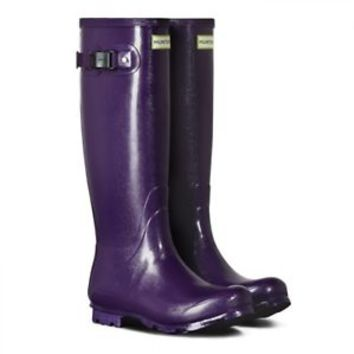 HUNTER ORIGINAL FIELD TALL DARK IRIS PURPLE GLOSS WELLINGTON BOOTS  Welly BN