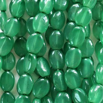 25 Milky Teal Green flat oval Czech Glass beads, 12mm x 9mm pressed glass beads C2625