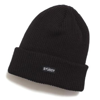 Small Patch Watch Cap Beanie Black