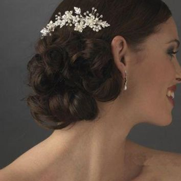 Crystal Pearl Bridal Comb Handmade Bride Hair Accessory Silver Floral Gold Silver Two Color