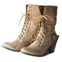sawyer fold-over lace up boots in beige