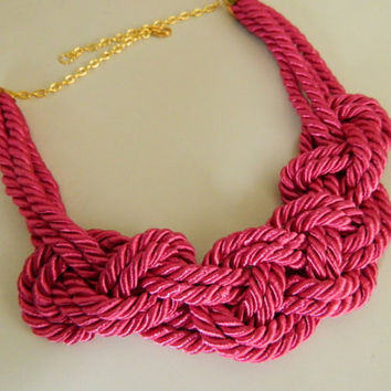 Hot Pink Sailor Knot /Japanese Knot Necklace/choker, Rope Necklace, Nautical Necklace, for her, bib necklace
