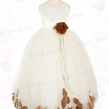 Lovely Princess Handmade Flower Zipper Sleeveless Tulle Wedding/Evening Flower Girl Dress With Flowers Bow