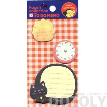 Kitty Cat Clock and Bell Shaped To Do List Checklist Adhesive Post-it Memo Pad