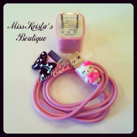 Hello Kitty Iphone 4 IPod Case wall charger pink USB Charger Power Adapter Kitty Cat Bow Charger