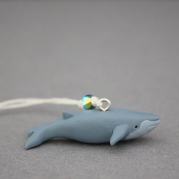 blue whale figurine hanging ornament polymer clay whale totem