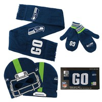 Seattle Seahawks Cap, Scarf & Mittens Set - Youth, Size: One Size (Sea Team)