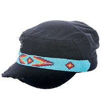 SEED BEAD AZTEC PATTERN DISTRESSED CAP