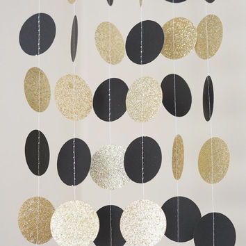 Black and Gold Glitter Paper Circle Garland, Photo Prop, Party Decoration, Event Decor