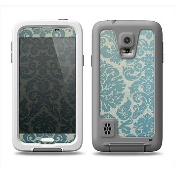 The Subtle Green Lace Pattern Samsung Galaxy S5 LifeProof Fre Case Skin Set