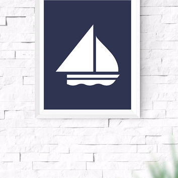 Navy Blue Yacht Printable, Sea Wall Art, Nautical Wall Art, Beach House Decor, Nursery Wall Art, Gallery Prints, Boat Printable, 8x10, 24x30