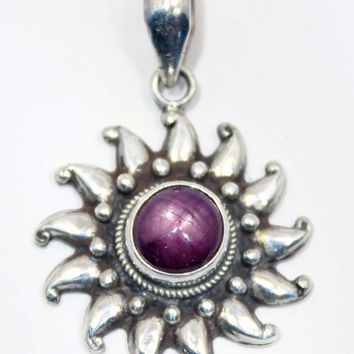 Sterling Silver Star Ruby Sun Pendant