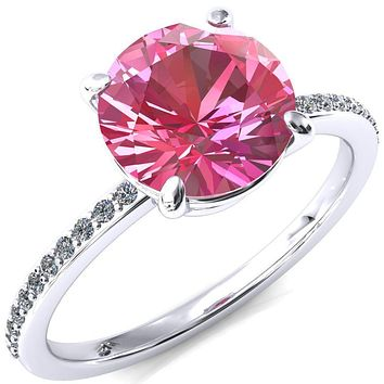 Flora Round Pink Sapphire 4 Prong 1/2 Bead Eternity Diamond Accent Engagement Ring